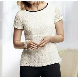 Talbots Top 2P Ivory Faux Leather Trim Lace NEW